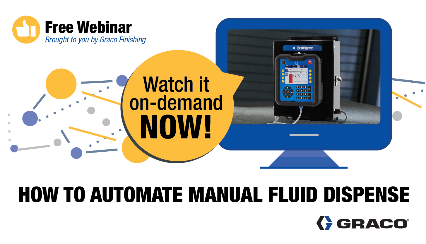 Join Graco Finishing for a free webinar about automating industrial fluid dispense processes for assembly lines and other manufacturing applications.