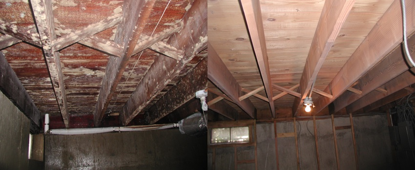 Soda blasting joists, before and after