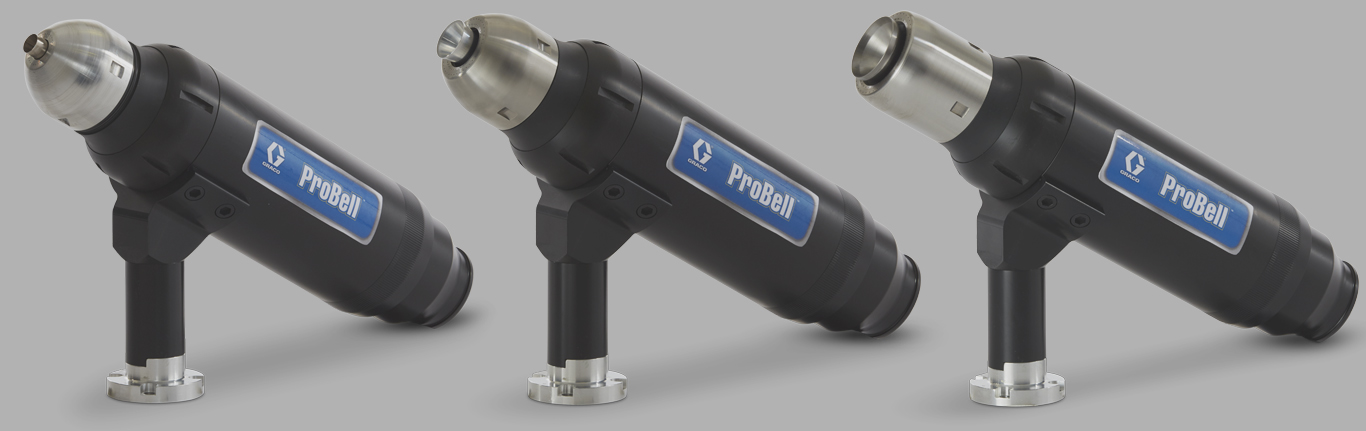 ProBell automatic electrostatic paint sprayers have three bell cup sizes
