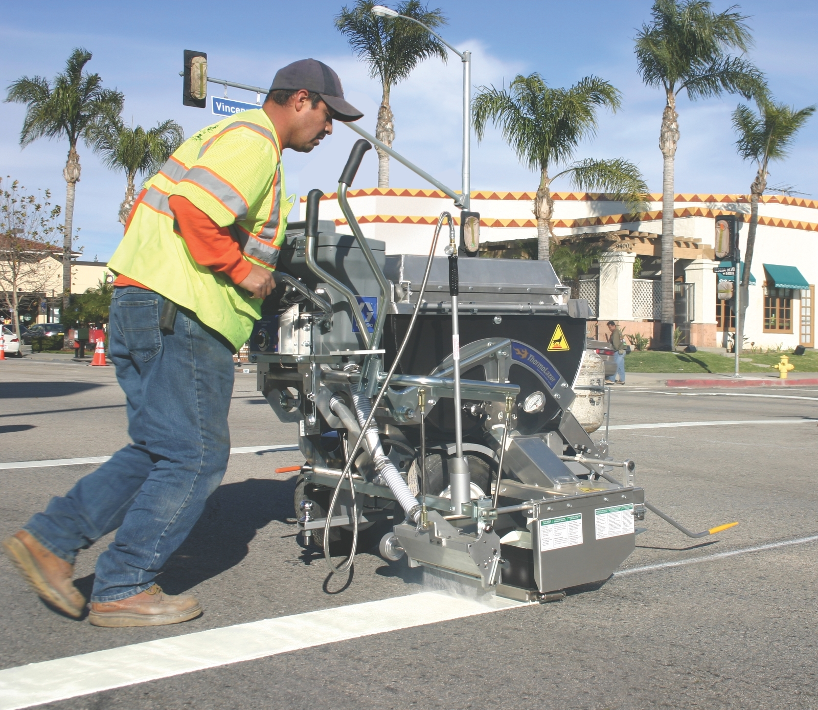 ThermoLazer applying thermoplastic road markings
