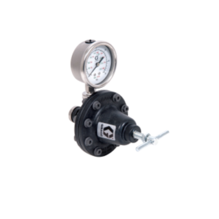 Low Pressure Lightweight Fluid Regulator, 3-30 psi (0.2-2 bar), 0.5 gpm, Acetal, Air, 1/4(f) x 1/4(f), 1/4(f) Port