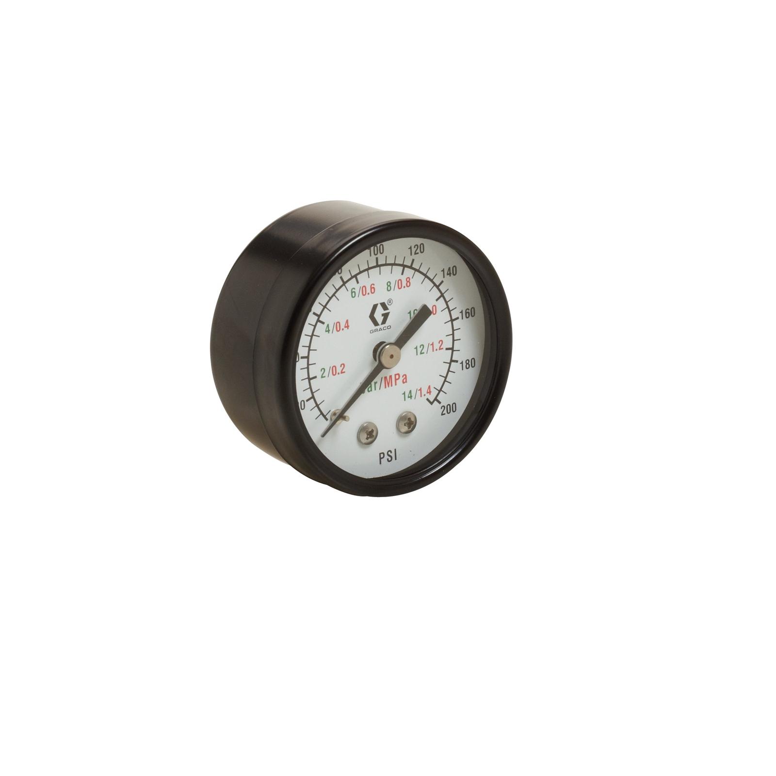 Low Pressure Air Gauge, back mount, 0-100 psi (0-7 bar