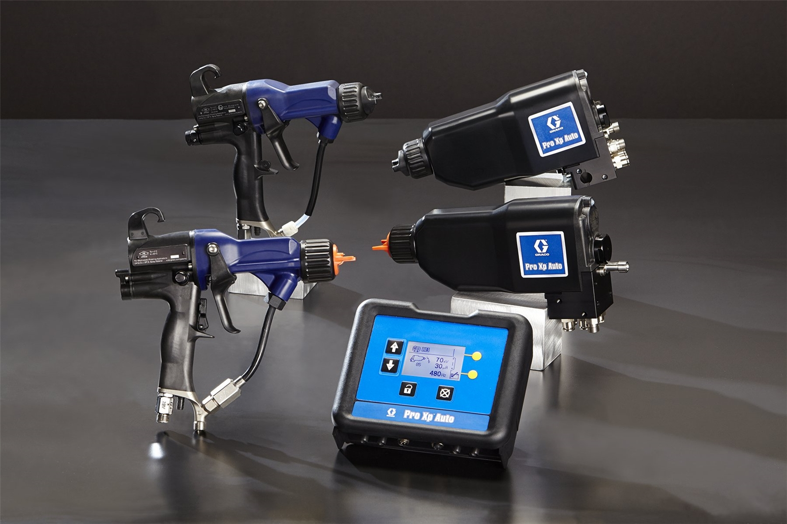 Pro Xp electrostatic spray guns come in manual or automatic models.