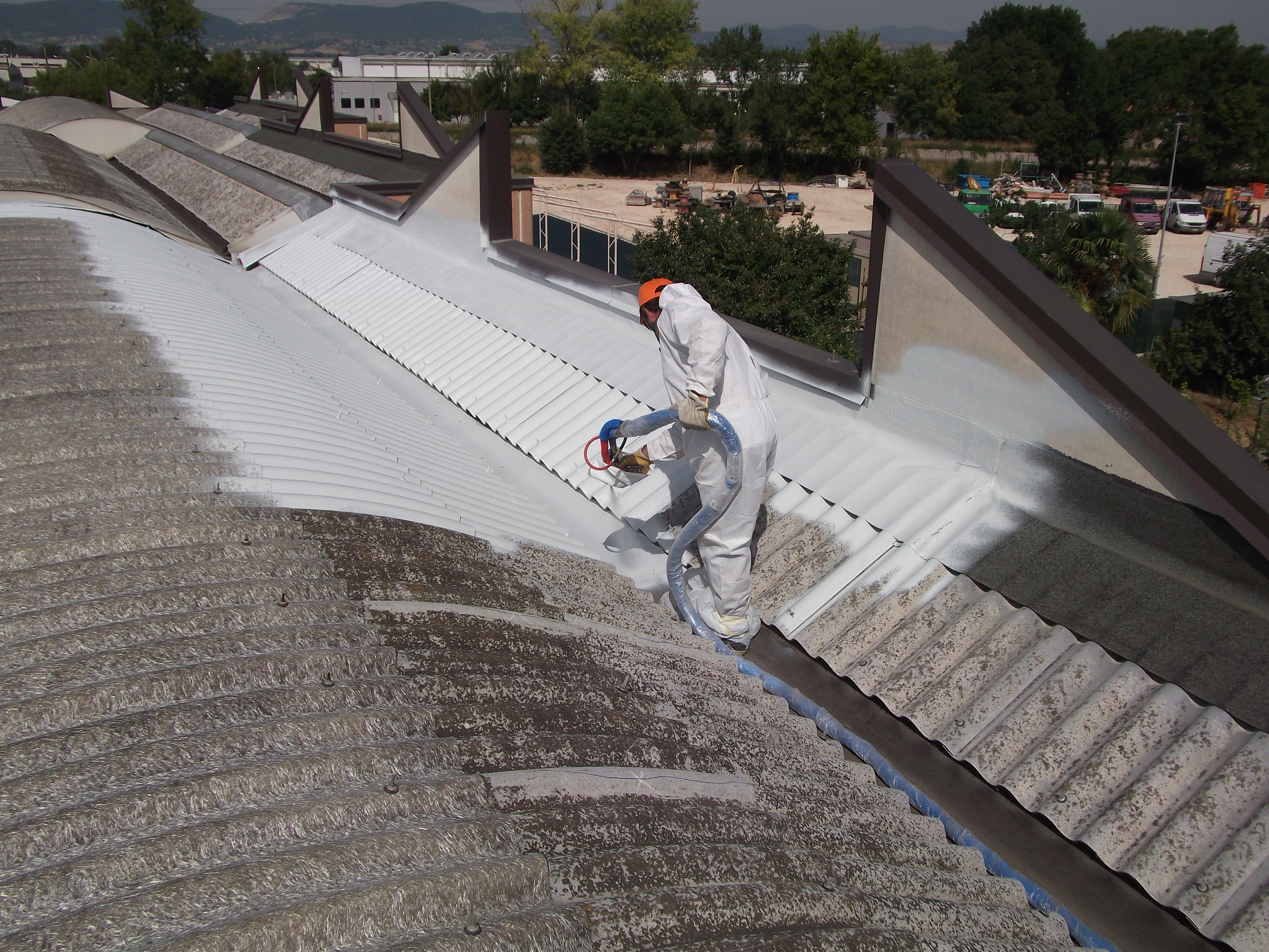 Polyurea Application On Damaged Fiber Cement Roof