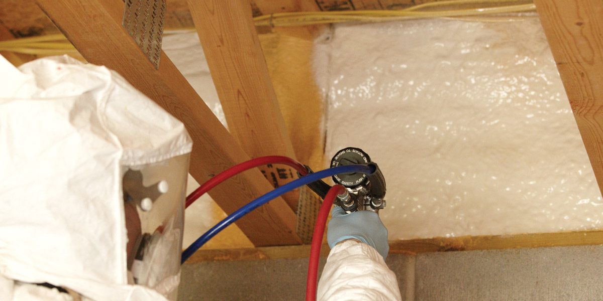 Spray foam insulation for rim joists
